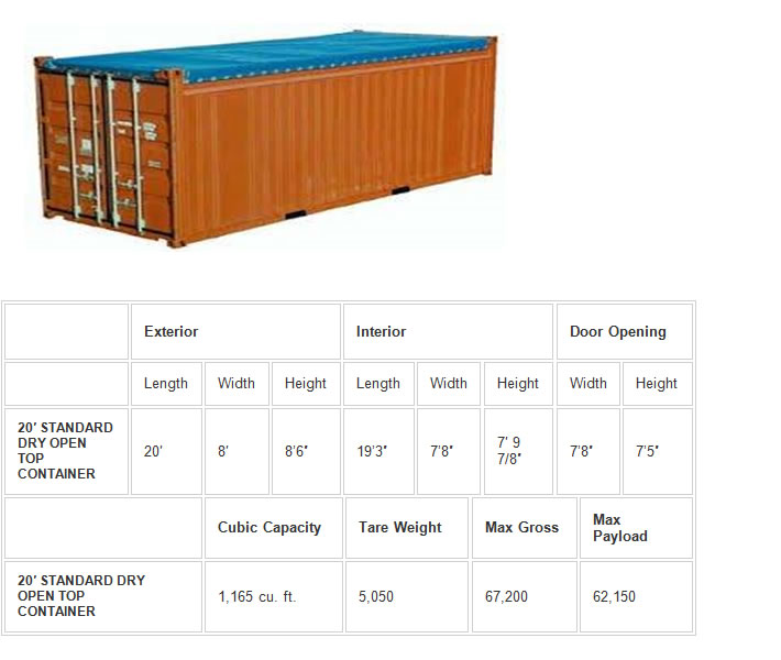 20 feet opentop container